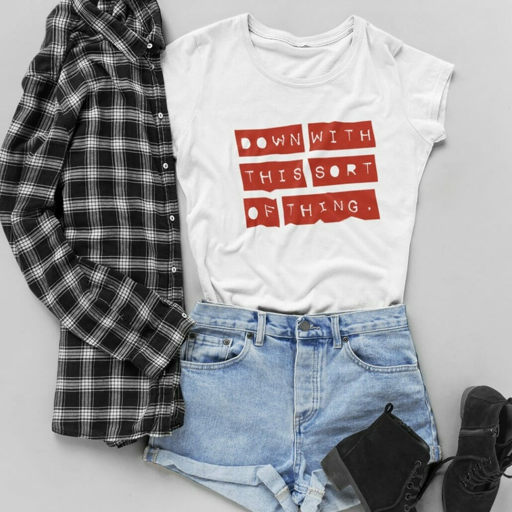 Acta Label font used on clothing