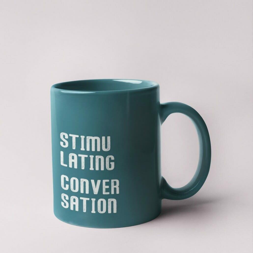exesa stamp effect font on mug