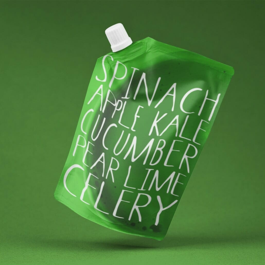 Selva hand lettered font family on packaging