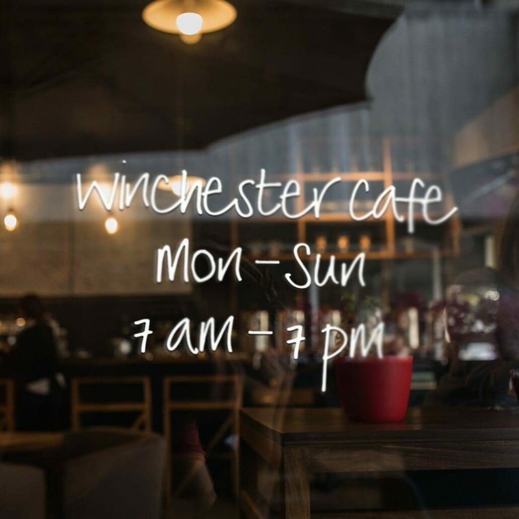Winchester handwritten font in cafe